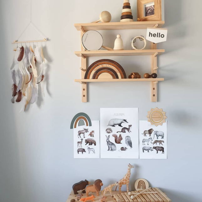 Peg Shelving 60cm pair displaying natural wooden toys on shelves