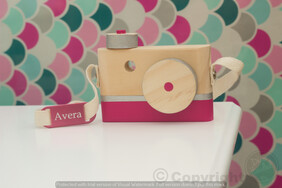 Children's Wooden Decor Camera strap Personalised Plate