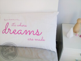 "Decor Handled ""Dreams"" Pillowcase - only 2 left"
